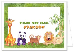 Jungle Animals Birthday Party Thank You Note Cards Personalized