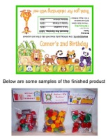 Jungle Animals Birthday Party Bag Toppers Favors w/Recloseable Bags