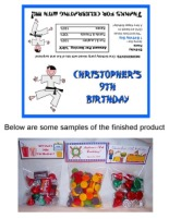 Karate Birthday Party Bag Toppers Favors w/Recloseable Bags