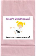 Karate Girl Birthday Party Goodie Loot Bag Labels Favors