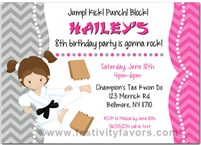 Karate Tae Kwon Do Martial Arts Birthday Party Invitations Girl