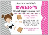 Karate Tae Kwon Do Martial Arts Birthday Party Invitations Girl