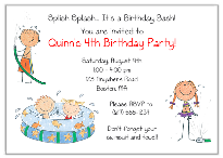 Swimming Kiddie Pool Party Birthday Invitations