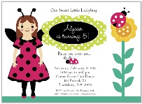 Ladybug Birthday Party Invitations Girl