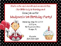 Ladybug 1st Birthday Girl Party Invitations