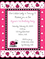 Ladybug Birthday Party Invitations Pink and Black