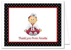 Ladybug Girl 1st Birthday Thank You Note Cards