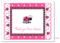 Ladybug Pink Black Thank You Note Cards