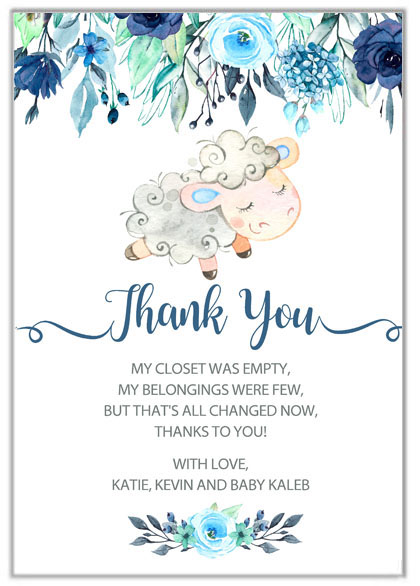 Lamb Boy Baby Shower Thank You Cards