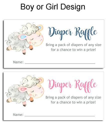 Lamb Baby Shower Diaper Raffle Tickets