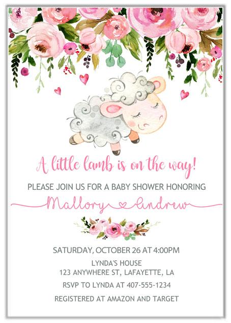 Lamb Girl Baby Shower Invitations