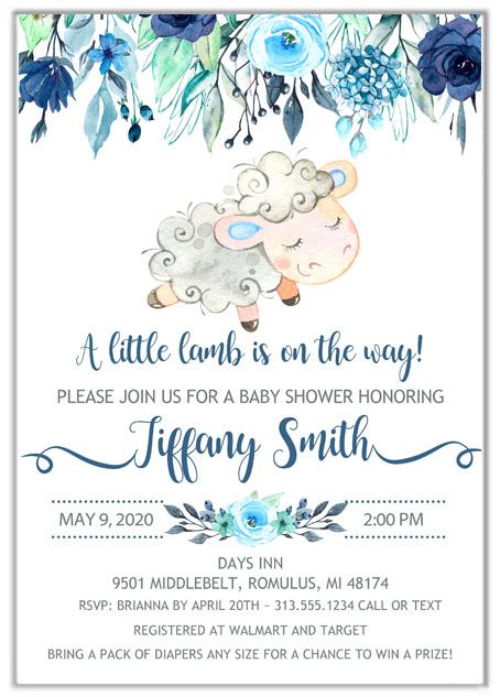 Lamb Boy Baby Shower Invitations