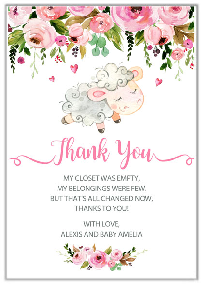 Lamb Girl Baby Shower Thank You Cards