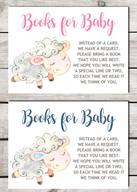 Lamb Books for Baby Shower Insert Cards