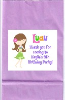Hula Girl Luau Birthday Party Goodie Loot Bag Labels Favors