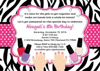 Zebra Manicure Spa Birthday Party Invitations