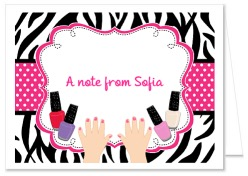 Zebra Manicure Spa Party Thank You Note Cards