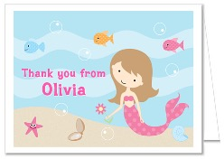 Mermaid Thank You Note Cards
