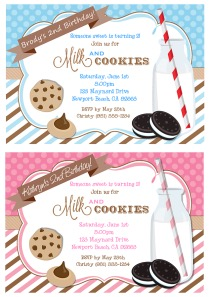 Milk and Cookies Birthday Party Invitations