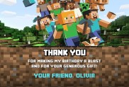 Minecraft Thank You Cards New