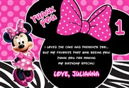 Minnie Mouse Thank You Cards