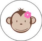 Mod Monkey Girl Round Envelope Seals
