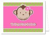 Mod Monkey Girl Thank You Note Cards Personalized