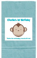 Mod Monkey Birthday Party Goodie Loot Bag Labels Favors