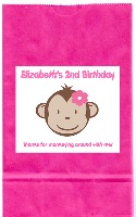 Mod Monkey Girl Birthday Party Goodie Loot Bag Labels Favors