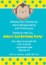 Mod Monkey Birthday Party Invitations