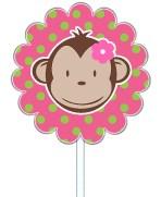 Mod Monkey Girl Cupcake Toppers