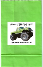 Monster Truck Birthday Party Goodie Loot Bag Labels