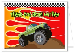 Monster Truck Thank You Note Cards