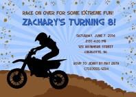 Dirt Bike Motocross Birthday Party Invitations