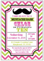 Mustache Girl Birthday Party Invitations