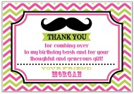 Mustache Girl Thank You Cards Personalized