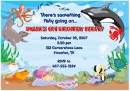 Fish Ocean Sea Birthday Party Invitations