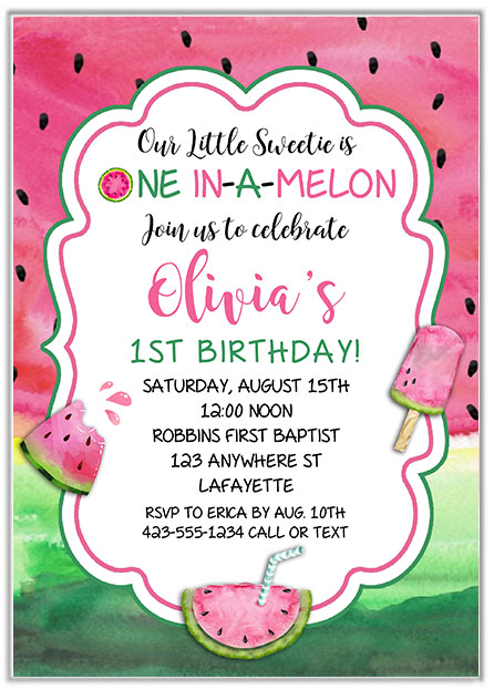 One in a melon watermelon 1st birthday Invitations