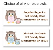 Owl Baby Shower Return Address Labels