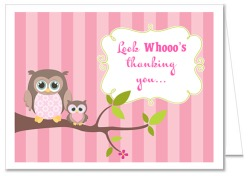 Owl Girl Baby Shower Thank You Note Cards