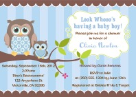 Owl Baby Shower Invitations Boy