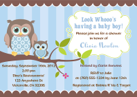 Owl Boy Baby Shower Invitations