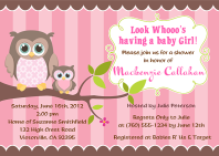 Owl Girl Baby Shower Invitations
