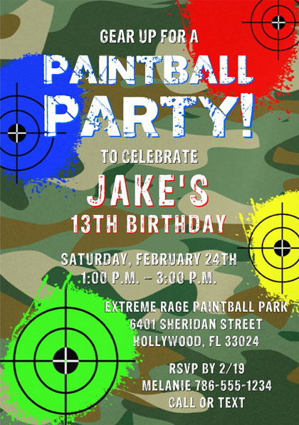 Paintball Birthday Party Invitations