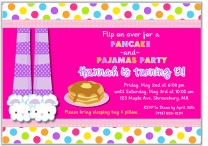 Pancakes and Pajamas Birthday Party Invitations