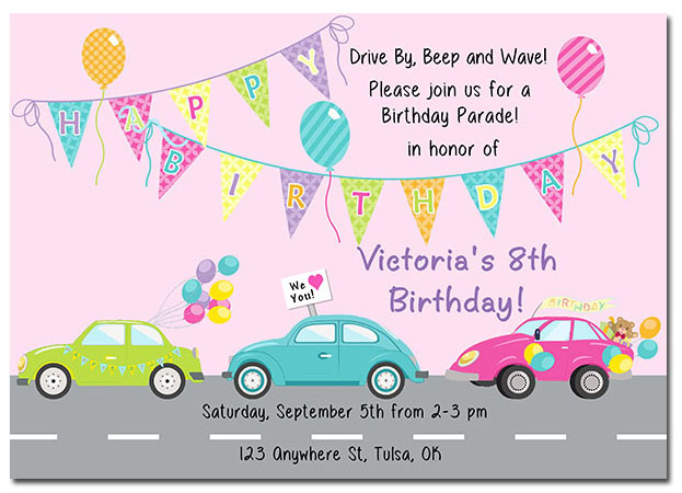 Drive By Parade Birthday Invitations