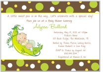 Pea in a Pod Baby Shower Invitations