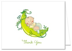 Pea in a Pod Baby Shower Thank You Note Cards