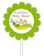Two Peas in a Pod Twins Baby Shower Cupcake Toppers