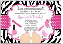 Zebra Pedicure Spa Birthday Party Invitations